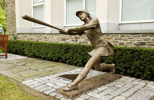 """""""Woman at Bat"""" statue found in Cooper Park, outside the Baseball Hall of Fame. (Milo Stewart, Jr. / National Baseball Hall of Fame)"""