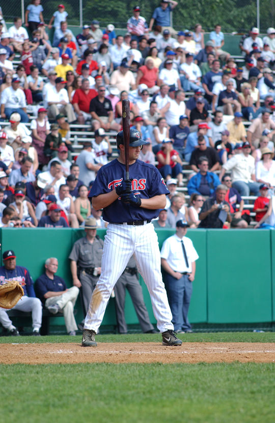 Michael Cuddyer at-bat for the Minnesota Twins during the 2004 Hall of Fame Game at Cooperstown's Doubleday Field. (Milo Stewart Jr. / National Baseball Hall of Fame and Museum)