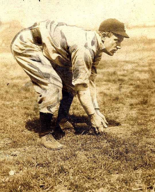 """A posed action shot of Brooklyn's """"Bad Bill."""" BL-1895.68WTd (National Baseball Hall of Fame Library)"""