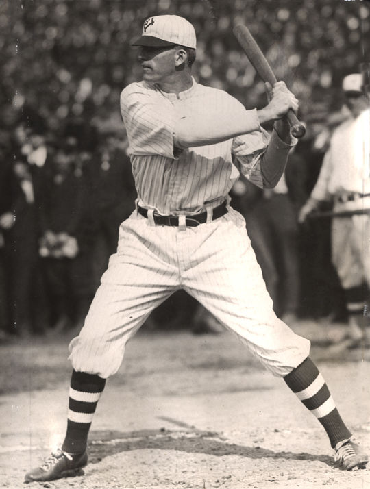 With Brooklyn, Jake Daubert twice led the National League in batting average, including a .350 average in 1913 when he won the Chalmers Award. Daubert-322.68_Bat_PD. (National Baseball Hall of Fame and Museum)