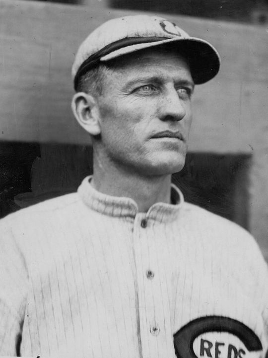 Jake Daubert, when he was with the Cincinnati Reds, as photographed by the Charles Conlon. Daubert 1905-68WTf_HS_PD (National Baseball Hall of Fame and Museum)