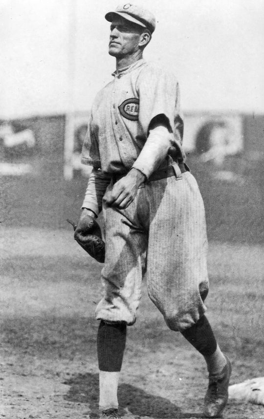 Jake Daubert was a brilliant fielder, sure-handed and quick on bunt attempts. He was frequently compared to Hal Chase, considered the greatest fielding first baseman of the time. Daubert_2256-86_act_PD. (National Baseball Hall of Fame and Museum)