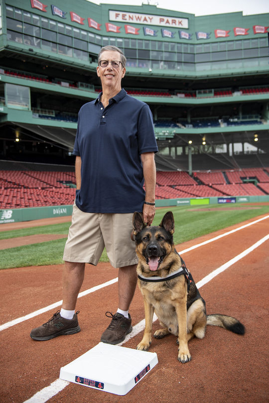 Dave Mellor and his service dog, Drago. (Billie Weiss/Boston Red Sox)