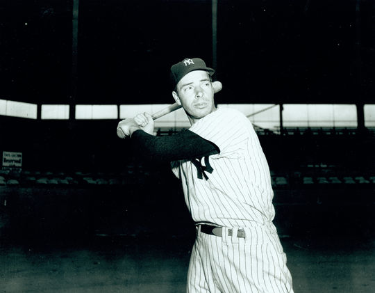 Joe DiMaggio (pictured above) suffered a heel injury in 1949, opening the door for Hank Bauer to get regular playing time in the Yankees' outfield. (National Baseball Hall of Fame and Museum)