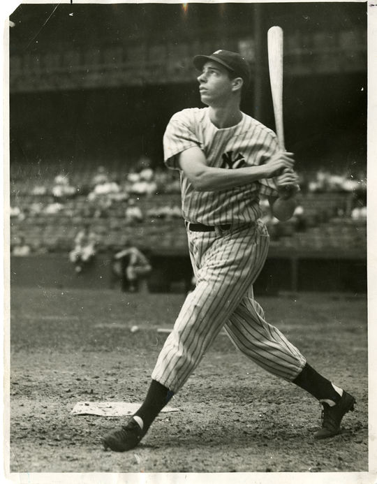 """During his 13-year MLB career, Joe DiMaggio was known for his consistency at the plate. <a href=""""http://collection.baseballhall.org/islandora/object/islandora%3A507374"""">PASTIME</a> (National Baseball Hall of Fame and Museum)"""
