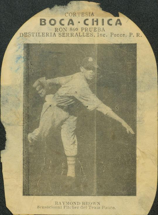 Esta foto del miembro del Salón de la Fama, Ray Brown, se encontró en la parte posterior de una etiqueta del ron puertorriqueño Don Q, producida a fines de la década de 1930 o principios de la década de 1940.  Fue una de las pocas fotos conocidas de Brown, que fue un lanzador dominante en las Ligas Negras y el Caribe.  (Milo Stewart Jr. / Salón de la Fama y Museo Nacional de Béisbol)