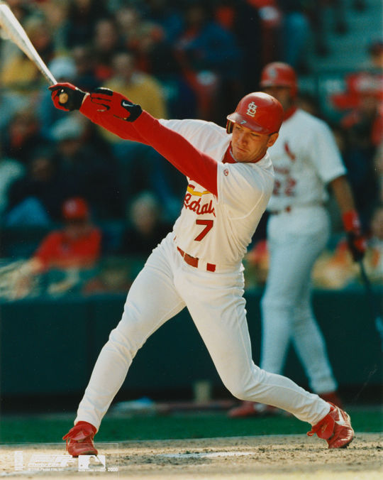 J.D. Drew of the St. Louis Cardinals batting in 1999. (National Baseball Hall of Fame)
