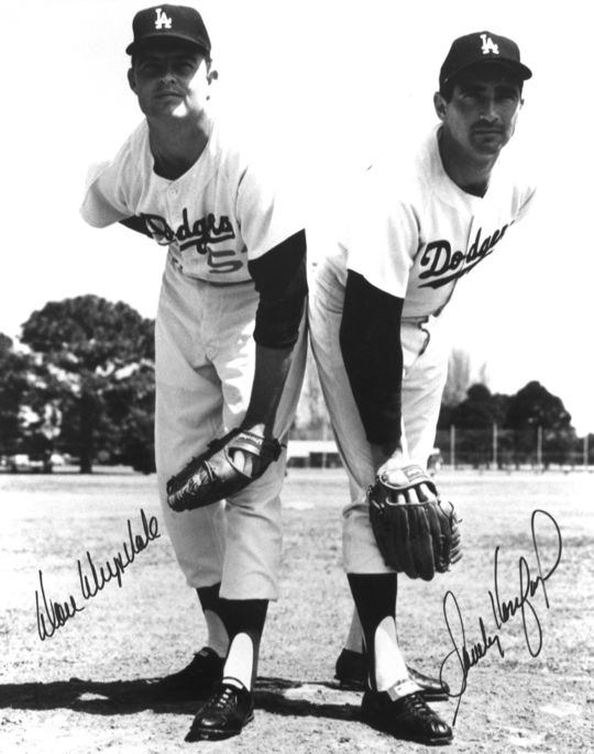 Because Game 1 of the 1965 World Series fell on Yom Kippur, Sandy Koufax (right) choose not to pitch. Don Drysdale (left) took the hill for the Dodgers instead. (National Baseball Hall of Fame and Museum)