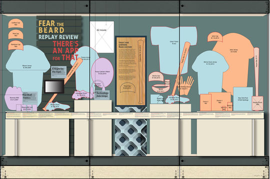 """A layout for one of the many exhibit cases for """"Whole New Ballgame."""" (Milo Stewart Jr. / National Baseball Hall of Fame)"""