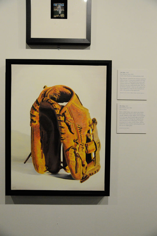 """Eli's Glove,"" hanging in the ""Art of Baseball"" exhibit. (Milo Stewart, Jr. / National Baseball Hall of Fame)"