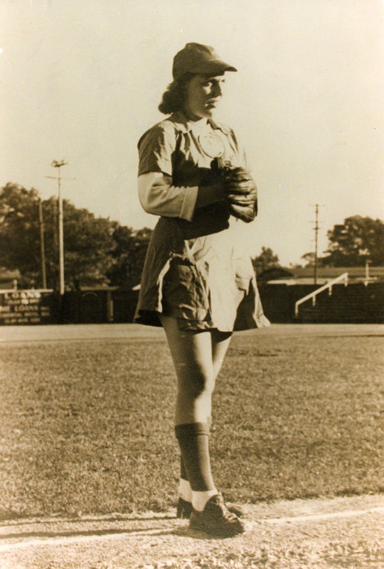 Erma Bergmann pitched for the Muskegon Lassies, Springfield Sallies, Racine Belles and Battle Creek Belles of the All-American Girls Professional Baseball League from 1946-51. Following her AAGPBL career, she became one of the first woman police officers in St. Louis. (National Baseball Hall of Fame and Museum)