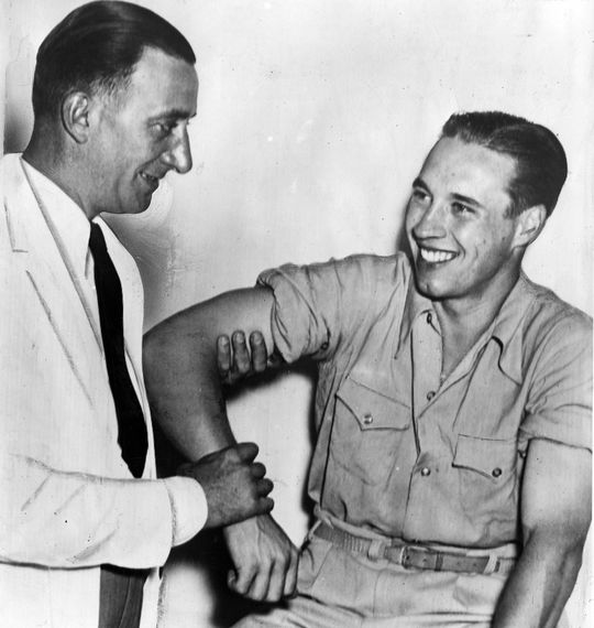 """Part of Bob Feller's duties while he was stationed aboard the <em>USS Alabama</em> were to lead his men in exercises, two times a day.  By 1945, he was in top shape for the baseball season. <a href=""""http://collection.baseballhall.org/islandora/object/islandora%3A274367"""">PASTIME</a> (National Baseball Hall of Fame)"""