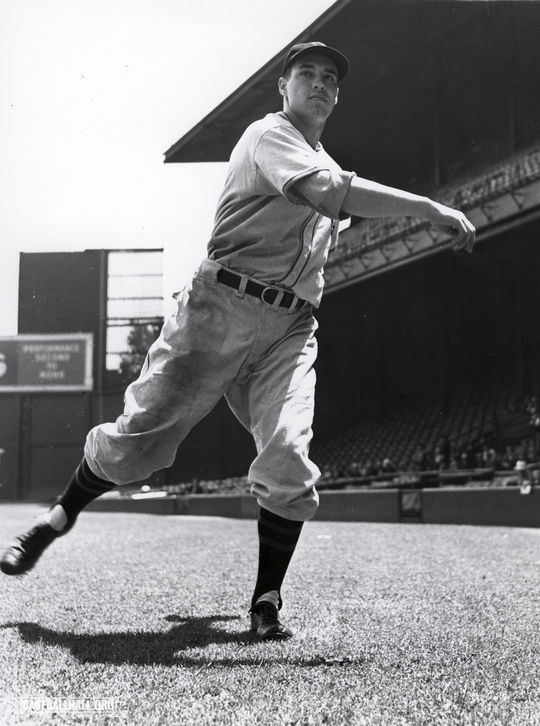 Bob Feller pitched for the Cleveland Indians his entire career, from 1936-41 and 1945-56, taking three years to serve in World War II in between. (Look Magazine/National Baseball Hall of Fame and Museum)