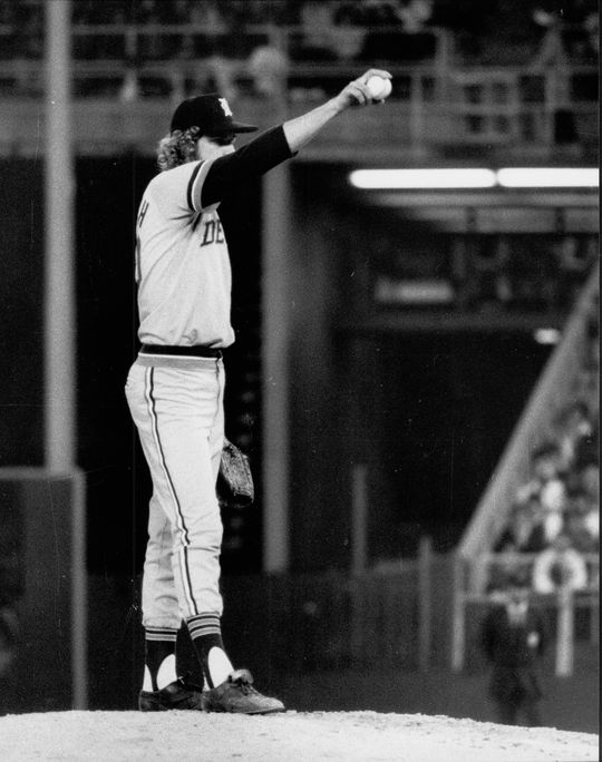 Fidrych was energy personified, always in motion, moving the ball in and out while on the mound. Photo by Bob Bartosz.  Fidrych-Mark-2233-2000_act_NBL-Bartosz (National Baseball Hall of Fame and Museum)