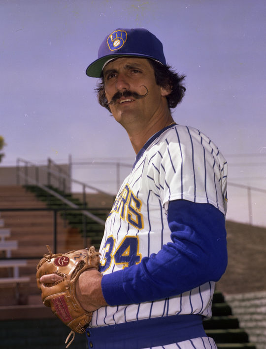 On Aug. 21, 1982, Rollie Fingers saved his 300th game, becoming the first pitcher to reach that mark. (Doug McWilliams / National Baseball Hall of Fame and Museum)