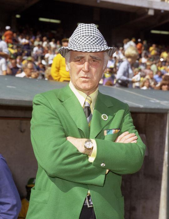 Kansas City/Oakland Athletics owner Charles Finley. BL-74-969 (Doug McWilliams / National Baseball Hall of Fame Library)