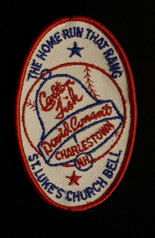 A patch commemorating Carlton Fisk's dramatic home run and the ringing of St. Luke's Church bell on Oct. 22, 1975 in Fisk's hometown of Charlestown, N.H. B-317-76 (National Baseball Hall of Fame Library)