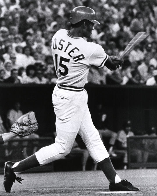 George Foster scored the winning run in Game 5 of the 1972 NLCS on a wild pitch, sending the Reds to the World Series. (National Baseball Hall of Fame and Museum)