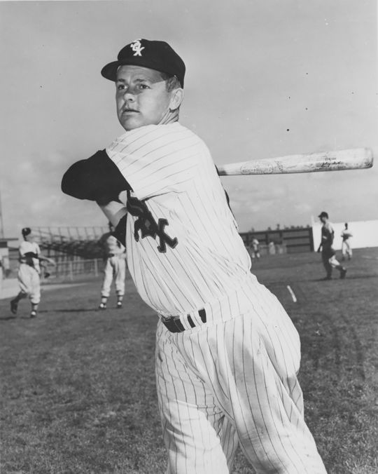 Nellie Fox hit his 26th career home run to give the White Sox a 1959 Opening Day victory in the 14th inning. (National Baseball Hall of Fame and Museum)