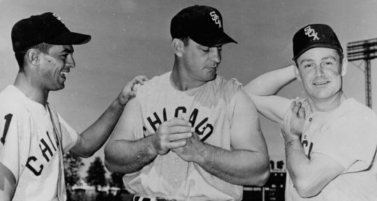Nellie Fox (right) shares a laugh with White Sox teammates Luis Aparicio (left) and Ted Kluszewski. The 5-foot-10 Fox led the American League in hits four times in the 1950s and won the 1959 AL MVP Award. (National Baseball Hall of Fame and Museum)