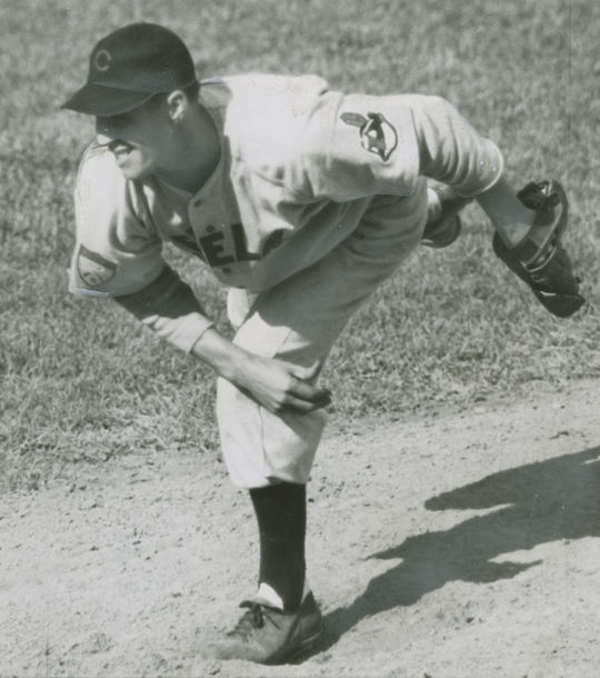 Bob Feller follows through while pitching for the Cleveland Indians. (National Baseball Hall of Fame and Museum)