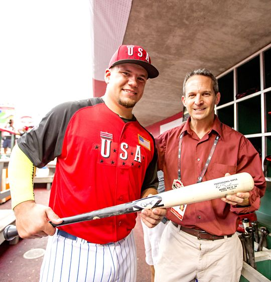 Chicago Cubs prospect Kyle Schwarber, seen here with Museum President Jeff Idelson, donated a bat from the MLB Futures Game to the National Baseball Hall of Fame and Museum. Schwarber hit a two-run triple in the third inning as part of the United States' 10-1 victory against the World team. (Jean Fruth / National Baseball Hall of Fame)