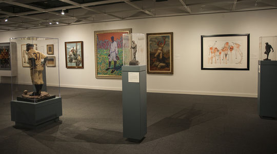 """Elaine de Kooning's """"The Baseball Catch"""" and Alexander Calder's """"Baseball"""" are currently on display in the Museum's Frank and Peggy Steele Art Gallery. (Milo Stewart Jr. / National Baseball Hall of Fame)"""