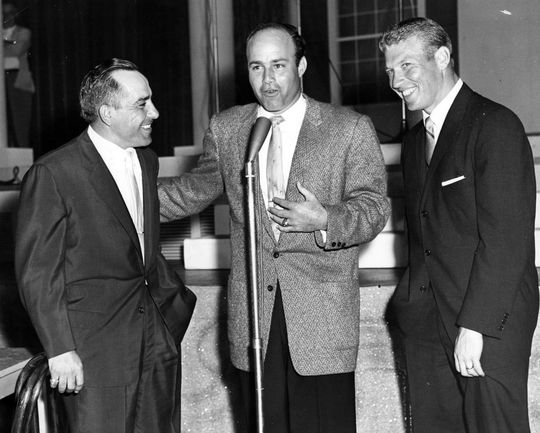 Joe Garagiola with Yogi Berra (left) and Mickey Mantle (right) in 1958. BL-2081.68WTs (National Baseball Hall of Fame Library)