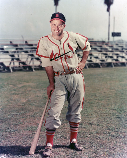 St. Louis Cardinals catcher Joe Garagiola posed for a photograph. BL-5577.97 (Photo File / National Baseball Hall of Fame Library)