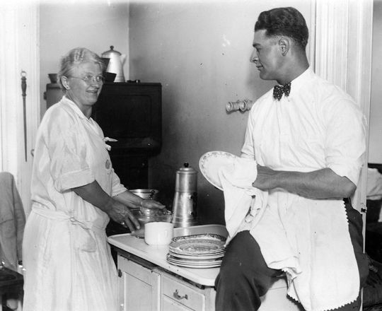 Lou Gehrig was very close with his mother, and often said that he was happy that his on-field success could help him repay his parents for their early sacrifices. (National Baseball Hall of Fame and Museum)