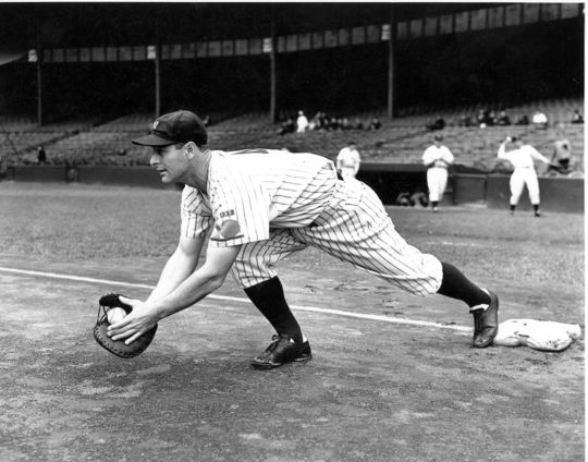 Lou Gehrig recorded the final three putouts in the game marking his 2000th consecutive appearance on May 31, 1938. (National Baseball Hall of Fame and Museum)