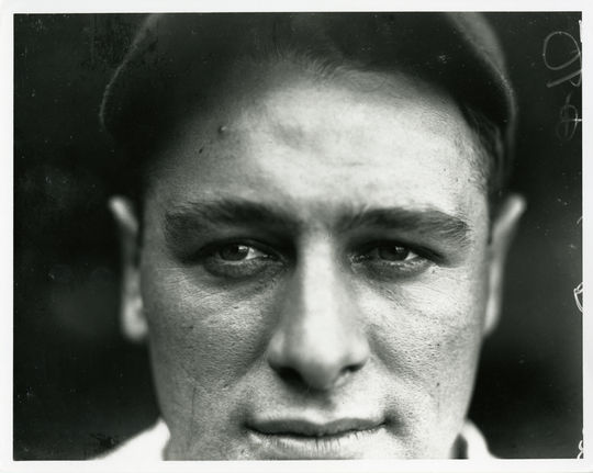 A close-up of Hall of Famer Lou Gehrig taken by iconic photographer Charles Conlon for the <em>Sporting News</em>. BL-211-92 (Charles M. Conlon / National Baseball Hall of Fame Library)