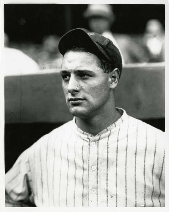 On May 2, 1939, in Detroit, Hall of Famer Lou Gehrig took himself out of the lineup after a then-record 2,130 consecutive games. He retired from baseball on July 4, 1939. (Charles Conlon/National Baseball Hall of Fame and Museum)