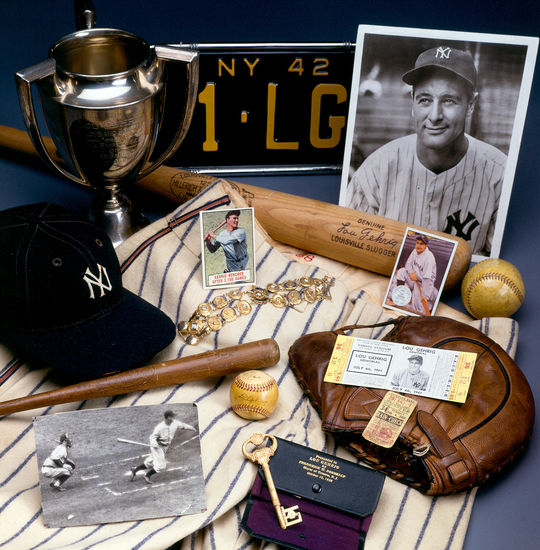 Collage of Gehrig images and artifacts collected by the National Baseball Hall of Fame Museum and Library. (Milo Stewart, Jr., National Baseball Hall of Fame Library)