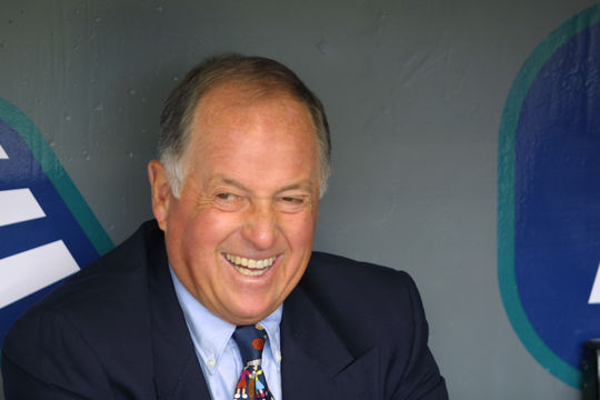 Portrait of a smiling Pat Gillick in 2002. BL-221.2011.3 (Seattle Mariners / National Baseball Hall of Fame Library)