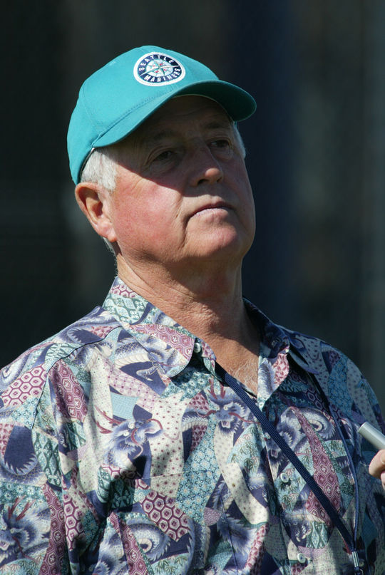 Pat Gillick in a Mariners ball cap and funky-looking Hawaiian shirt, 2002. BL-221.2011.7 (Seattle Mariners / National Baseball Hall of Fame Library)