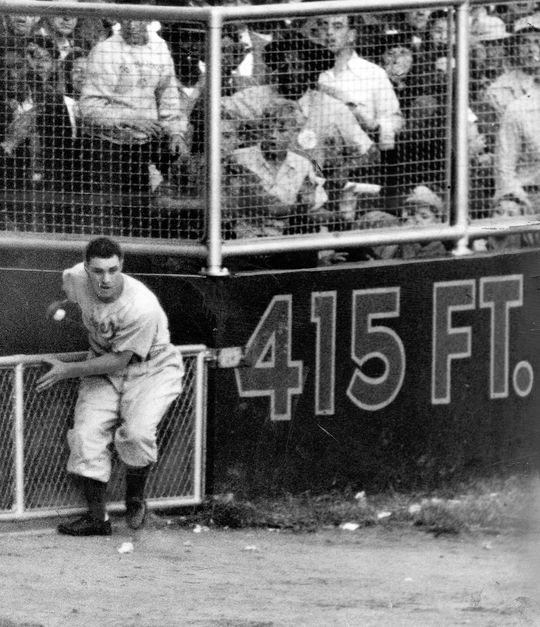 Tommie Agee's catches during the 1969 World Series rank as some of the best ever in the Fall Classic, including grabs like the one by Brooklyn Dodgers outfielder Al Gionfriddo in 1947 (pictured above). (National Baseball Hall of Fame and Museum)