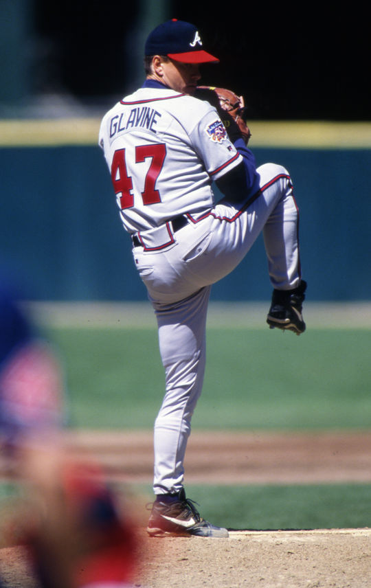 Tom Glavine compiled five 20-win seasons with the Atlanta Braves. BL-12-2013-610 (Brad Mangin / National Baseball Hall of Fame Library)