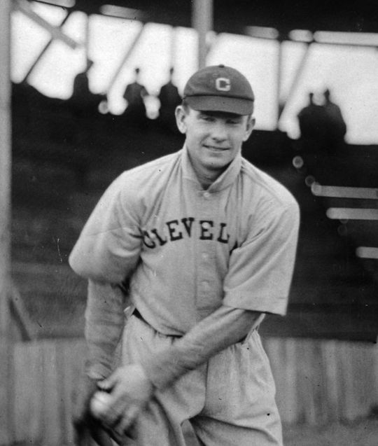 Jack Graney, posing in his uniform, played his entire professional career with Cleveland. BL-1481.89 (National Baseball Hall of Fame Library)