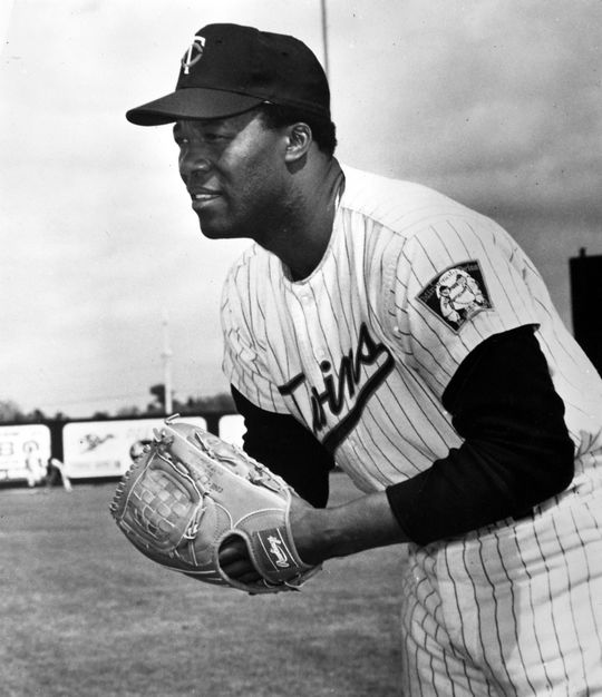 Posed action shot of Mudcat Grant of the Minnesota Twins. BL-3915.71d (National Baseball Hall of Fame Library)