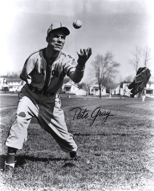 Action shot of Pete Gray, the one-armed, MVP outfielder. BL-829.98