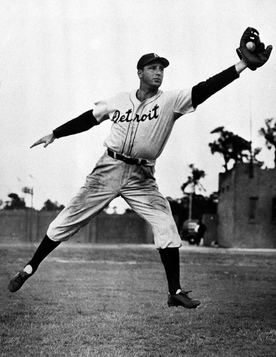 Although Hank Greenberg had never played left field before, he adjusted quickly to his new position in 1940 and led all American League outfielders in putouts that year with 298. (National Baseball Hall of Fame)