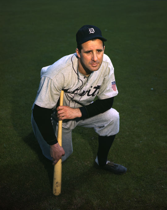 Hank Greenberg kneeling and posed with a bat. BL-70.57a (Look Magazine Collection / National Baseball Hall of Fame Library)