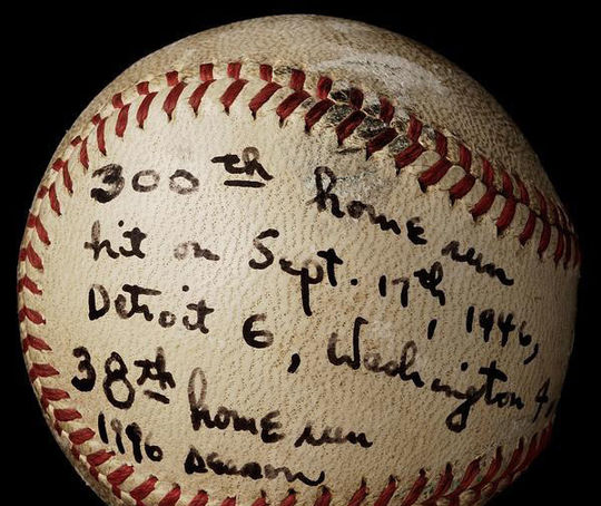 Hank Greenberg hit this baseball, now a part of the Hall of Fame's collection, for his 300th career home run. (Milo Stewart Jr./National Baseball Hall of Fame and Museum)
