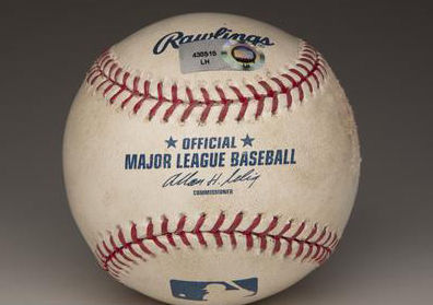 This ball was used by the Royals' Zack Greinke on Aug. 25, 2009, when he struck out 15 batters in a game against the Indians. The ball is part of the Hall of Fame collection. (Milo Stewart Jr./National Baseball Hall of Fame and Museum)