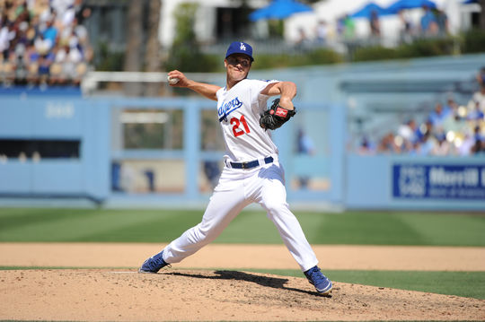 Dodgers pitcher Zack Greinke threw the sixth longest scoreless innings streak in history -- 45 and 2/3 innings -- from June 18 to July 26 of this year. BL-267-2014-19 (National Baseball Hall of Fame Library)