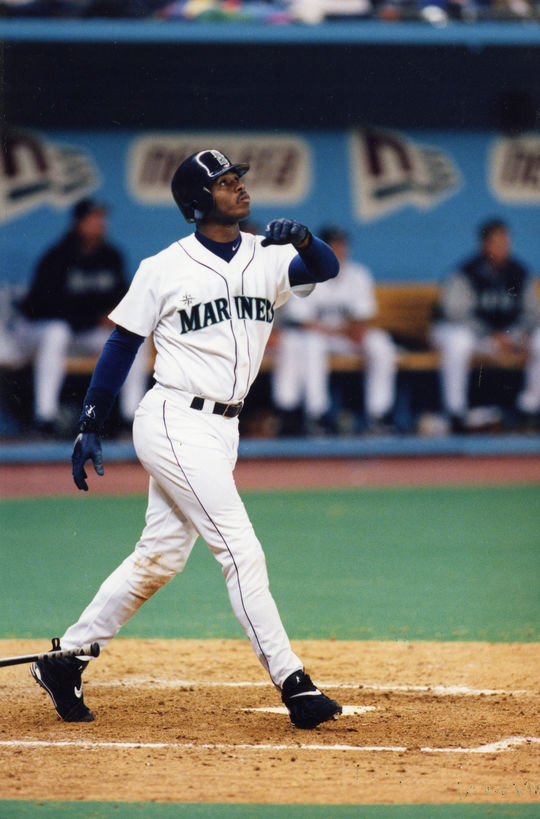 With less than 600 minor league plate appearances under his belt, Ken Griffey Jr. made his MLB debut against the A's at age 19. (National Baseball Hall of Fame and Museum)
