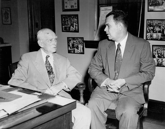 "Clark Griffith, left, owned the Senators until 1955, when his adopted son (and vice president) Calvin Griffith, right, took over. Both men expressed ambivalence about Cuban players, Clark once saying ""It would be a pretty sorry picture if the other fellows were as indifferent about showing up as the Cubans are."" (Don Wingfield / National Baseball Hall of Fame)"