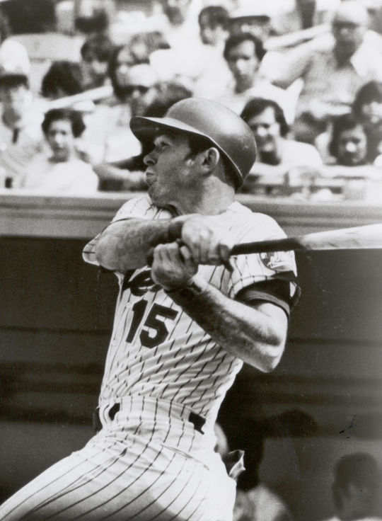 Jerry Grote finishing his swing. BL-5040.75 (National Baseball Hall of Fame Library