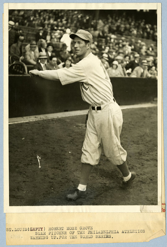 Lefty Grove, pictured above, warms up for the Philadelphia Athletics during the 1930 World Series. (National Baseball Hall of Fame)